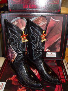 Los Altos Ostrich Leg Blk Western Cowboy Boot Size 10