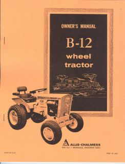 Allis Chalmers B 12 Garden Tractor Owners Manual AC