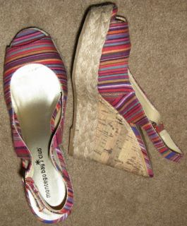 Montego Bay Club Sandal Wedge Multi Colored Stripes 9