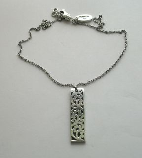 Lois Hill Silver Unisex Chain Necklace w Cutout Dog Tag Stick Pendant