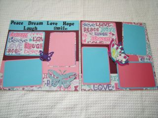 12X12 Hand Made Butterflies Love Peace Dream Hope Laugh Smile