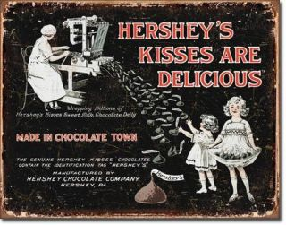 Classic Distressed Tin Sign Advertising Hershey Milk Chocolate Kisses