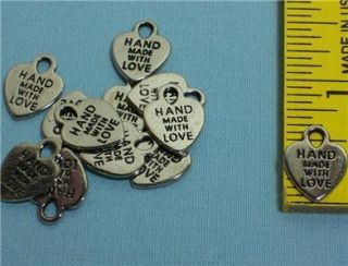 Silver Heart Charms Made with Love Jewelry Findings