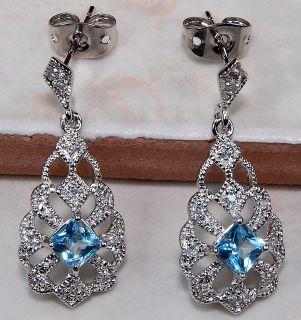 London Blue Topaz 925 Sterling Silver Earrings 1 Long