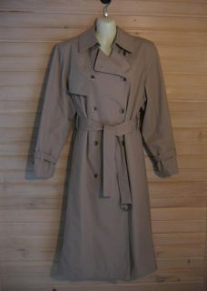 London Fog Womens Long Khaki Tan Trench Coat 14 Petite