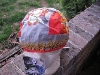 Headwraps Doo Du rags Biker Welder Skull bandana cap scull orange