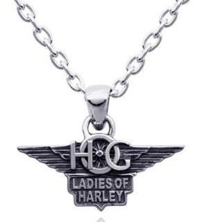 Harley Davidson 925 Sterling Silver Hog Ladies of Harley Necklace