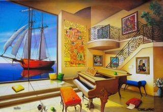 Hand Signed Orlando Rafael Quevedo Orlando Love Boat Painting