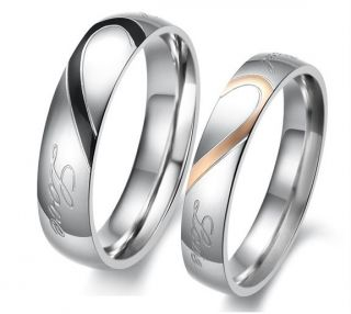 Steel Real Love Engraved Wedding Band Fashion Couple Rings