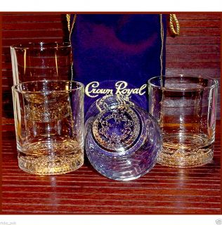 Seagrams Crown Royal Glasses 4 CR Lowball Old Fashioned Glass Tumblers