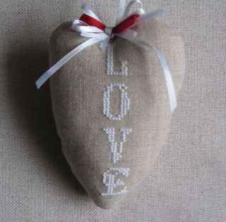 Cross Stitch Hand Made Finished Primitive Heart Ornament Love