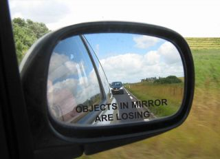 Objects in Mirror are Losing Etched Glass Decal BLACK NEW Funny Vinyl