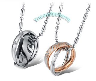 Made in Korea Love Engraved CZ Gem 2 Tone Double Ring Couple Lover
