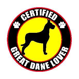 Certified Great Dane Lover 4 Dog Sticker