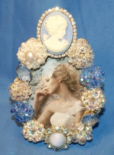 Vintage Blue & White Cameo Brooch Pin Rhinestone Pearl Picture Frame