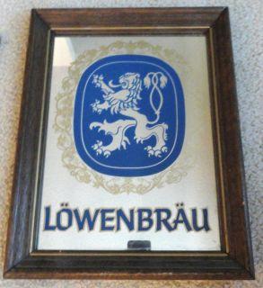 Lowenbrau Beer Wood Framed Bar Mirror Sign