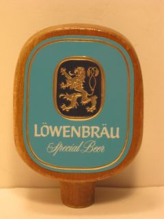 Lowenbrau Beer Logo Molded Plastic Wood Tap Handle