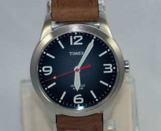T2N631 Timex Weekender Classic MENS Blue Dial Brown leather strap