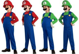 Child Super Mario Bros Mario Luigi Std Deluxe Costume