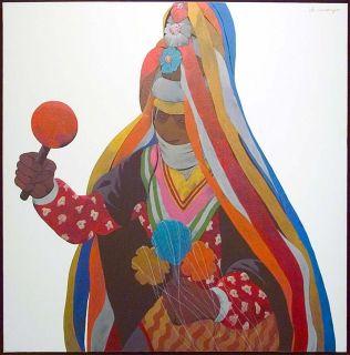 Louis de Mayo Tarahumara Dancer Original Acrylic Painting on Canvas