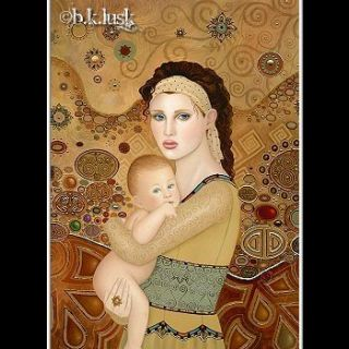 Nouveau Mother and Child Baby Toddler Gold Goddess Icon Spiritual Lusk