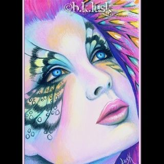 PAINTING Fantasy Fairy Butterfly Eyes Surreal Tears Monarch Lusk