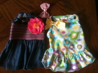 Lot of Lulu pink dog outfits clothes summer dress swim bathing suit sz