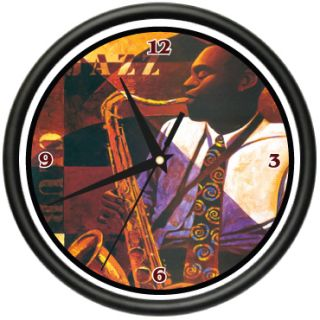 Jazz Club Wall Clock Music Sax Player Bar Lounge Gift