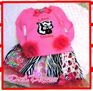 Custom Made Love Stinks Valentine Skirt Set