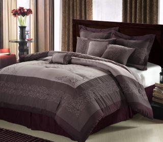 12pc Flo Plum Luxury Bed in A Bag Comforter Bedding Set