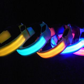 Nylon LED Pet Dog Night Safety Collar LED Light Up Flashing Glow s M L