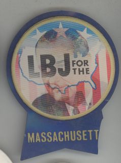 1964 LBJ LYNDON JOHNSON Massachusetts FLASHER For USA Pin BUTTON