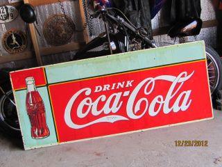 Original 1936 Coca Cola Large Checker Board Bottle Sign