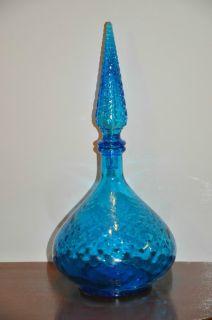 Vintage Blue Wine Liquor Genie Bottle Decanter Italy