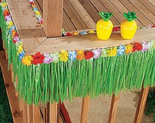48 ft Green Grass Table Skirt Fringe Luau Party Decor