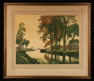 Antique French Art Deco Canal de LYonne Colored Etching Pencil Signed