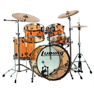 Ludwig USA Vistalite 5 PC Big Beat Drum Set Amber Acrylic New w