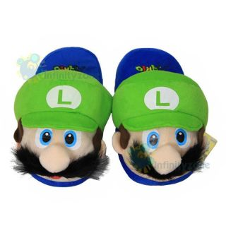 Super Mario Bros Luigi Adult Plush Slipper Slippers Grn