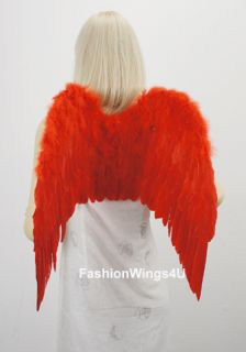 Red Feather Wings Macaw Phoenix Fairy Devil Cupid Angel Costume Props