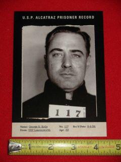 RARE Alcatraz Prison Mug Shot Card Machine Gun Kelly