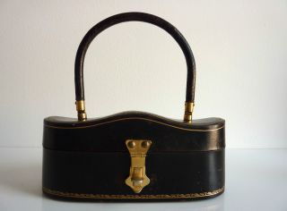 Italian Molded Leather Box   Purse with Gold Stamped Detail by S. LUTI