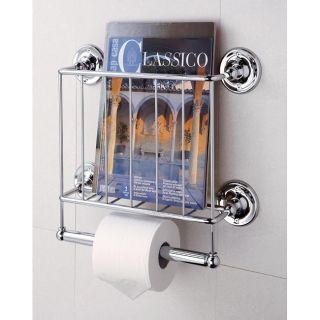 Wall Mount Magazine Rack And Toilet Paper Holder Bath Tissue Storage