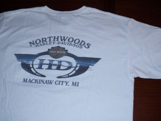 Northwoods Harley Davidson T Shirt White L Large Mackinaw City