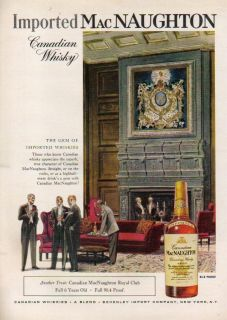 1958 Canadian Macnaughton Whisky Whiskey Bottle 50s Ad