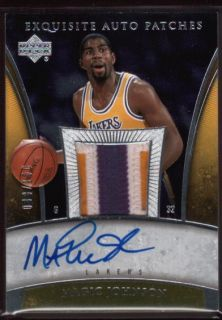 MAGIC JOHNSON /100 AUTO LAKERS LOGO PATCH 3 COLOR 2005 06 UD EXQUISITE
