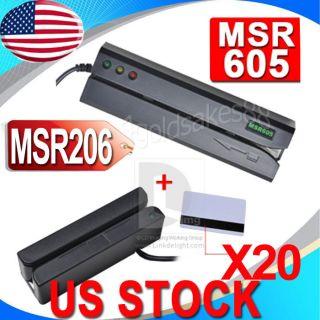 MSR605 Magnetic Card Reader Writer Encoder Credit Magstripe MSR206 3