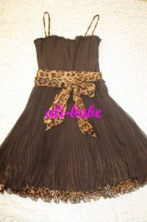 Dolce Gabbana Brown Chiffon Leopard Corset Dress 44 M