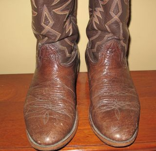 Larry Mahan Mens Cowboy Dark Brown Buffalo Leather Boots Size 9D