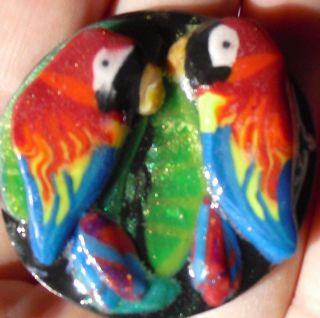 Macaw parrot tropical birds in love handcraft magnet polymer clay ooak