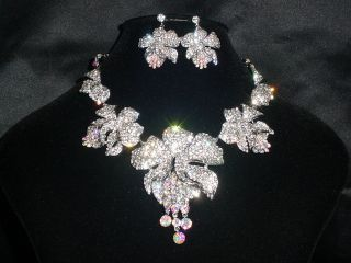 Elegant Crystal Orchid Bridal Necklace Earrings Set